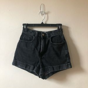 American Apparel High Waisted Black Denim Shorts